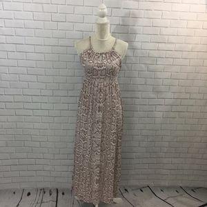 Snake Print Empire Waist Maxi Dress w Keyholes